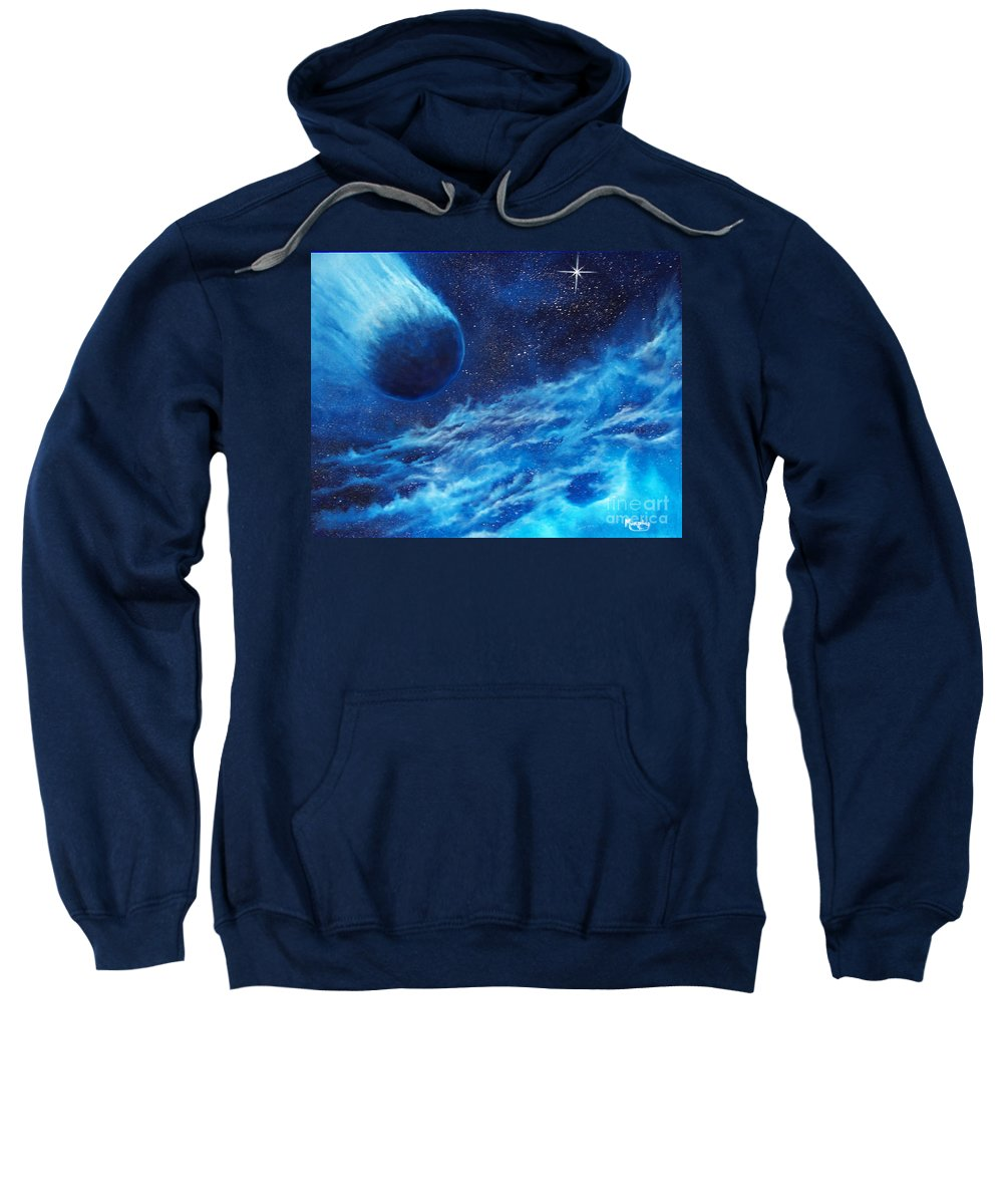 Astro Sweatshirt featuring the painting Comet Experience by Murphy Elliott