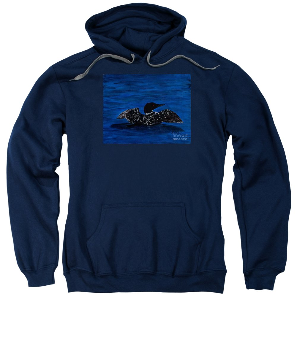 Barbara Griffin Sweatshirt featuring the painting Common Loon Preening by Barbara Griffin