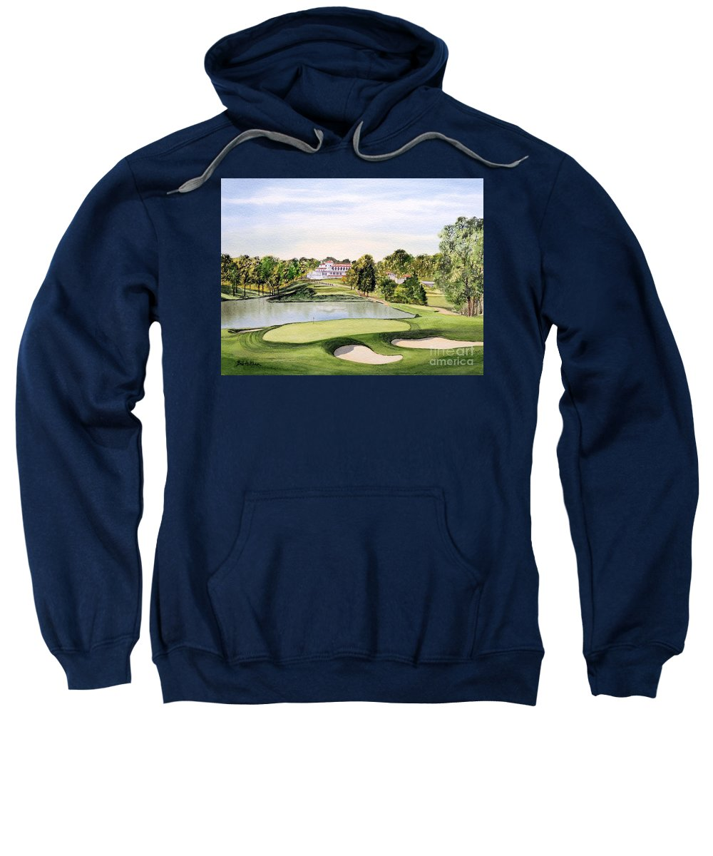 Congressional Golf Course 10th Hole Sweatshirt featuring the painting Congressional Golf Course 10th Hole by Bill Holkham