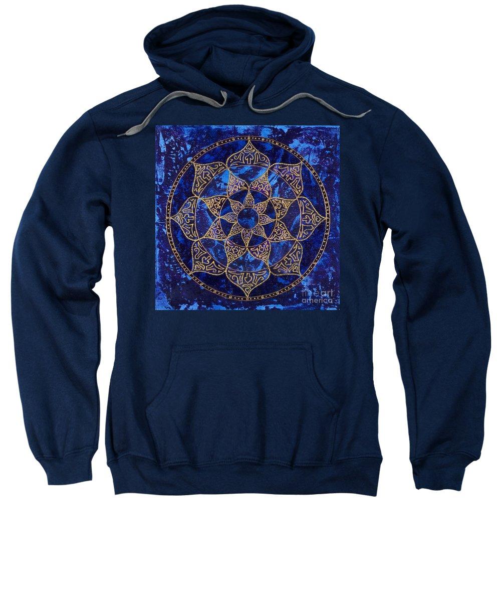 Mandala Sweatshirt featuring the painting Cosmic Blue Lotus by Charlotte Backman
