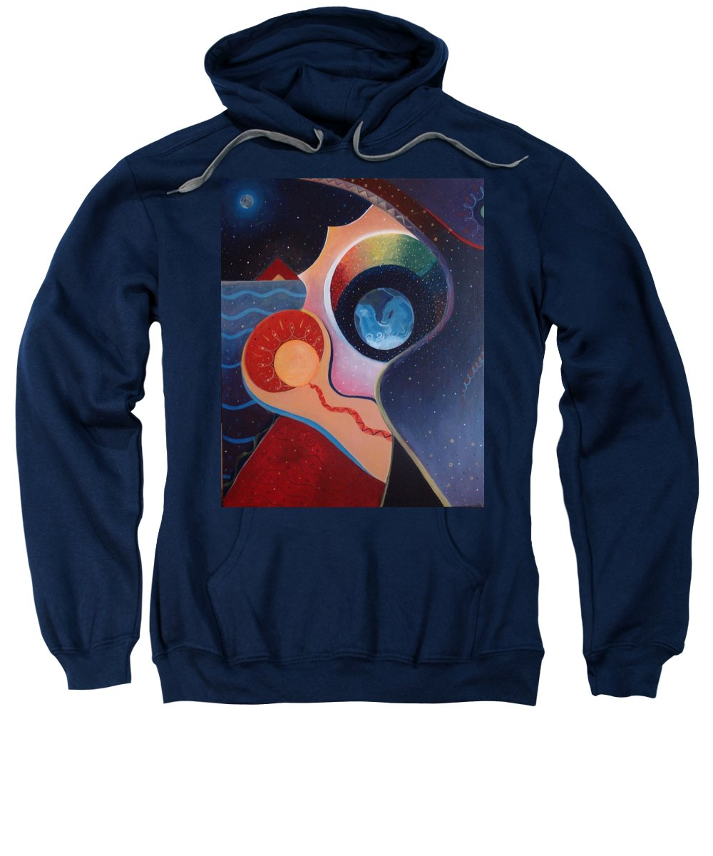 Wanting Sweatshirt featuring the painting Cosmic Carnival IIl Aka Desire by Helena Tiainen