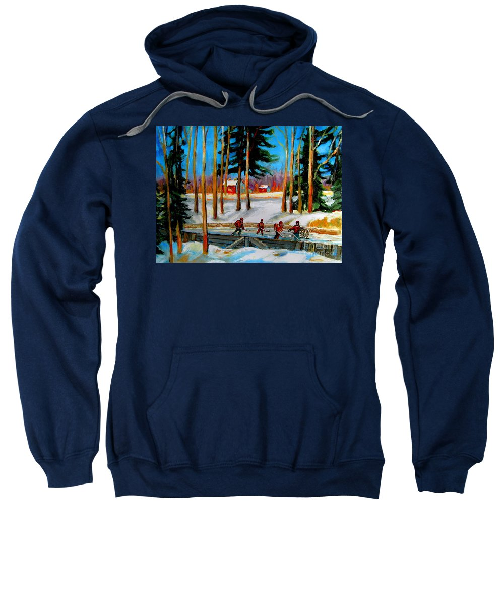 Country Hockey Rink Sweatshirt featuring the painting Country Hockey Rink by Carole Spandau