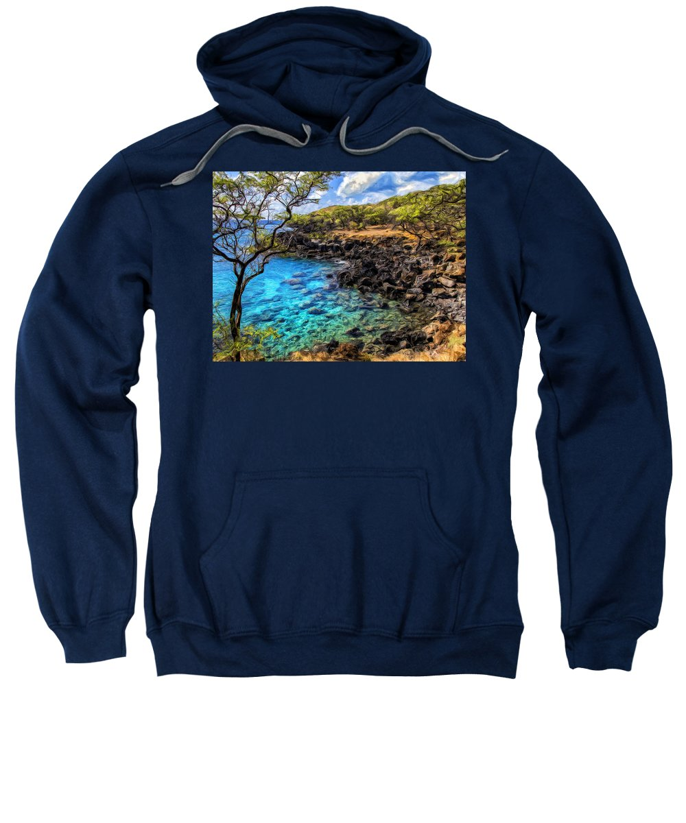 Cove Sweatshirt featuring the painting Cove At Mahukona 2 by Dominic Piperata