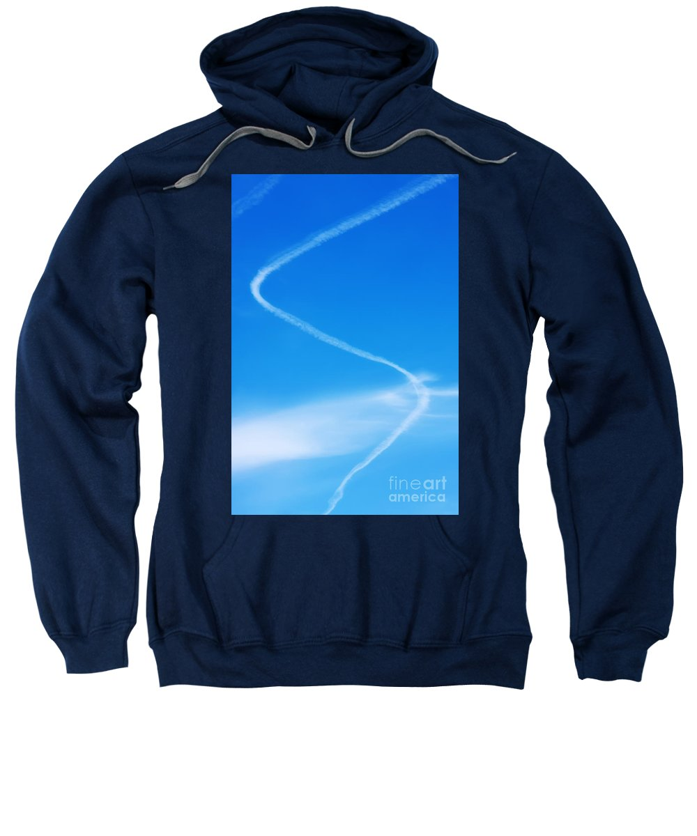 Blue Sweatshirt featuring the photograph Curved Vapor Trail by Jan Brons