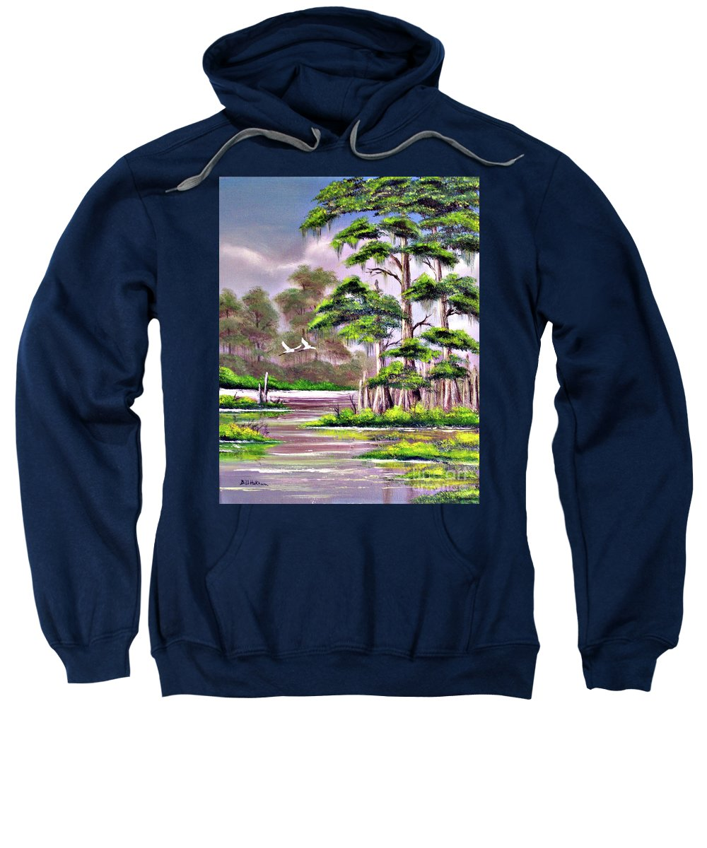Cypress Sweatshirt featuring the painting Cypress Trees-wakulla River Florida by Bill Holkham