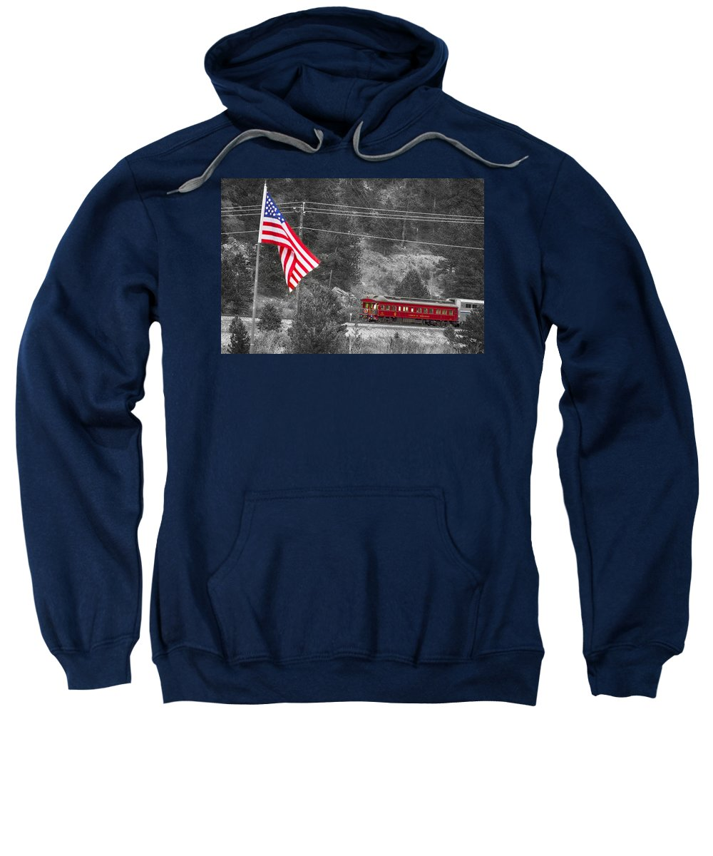 Cyrus K. Holliday Private Rail Car Sweatshirt featuring the photograph Cyrus K. Holliday Rail Car And Usa Flag Bwsc by James BO Insogna