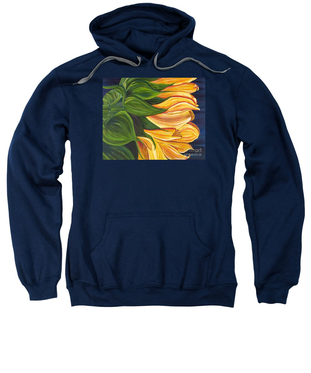 Sunflower Sweatshirt featuring the painting Dancing Sunflower by Melissa Wallace