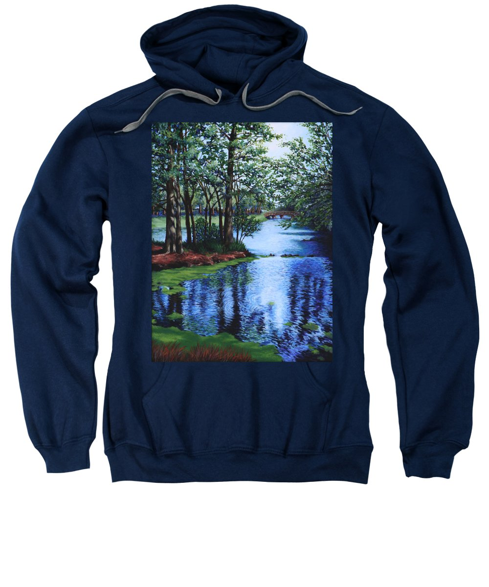 Landscape Sweatshirt featuring the painting Dancing Waters by Penny Birch-Williams