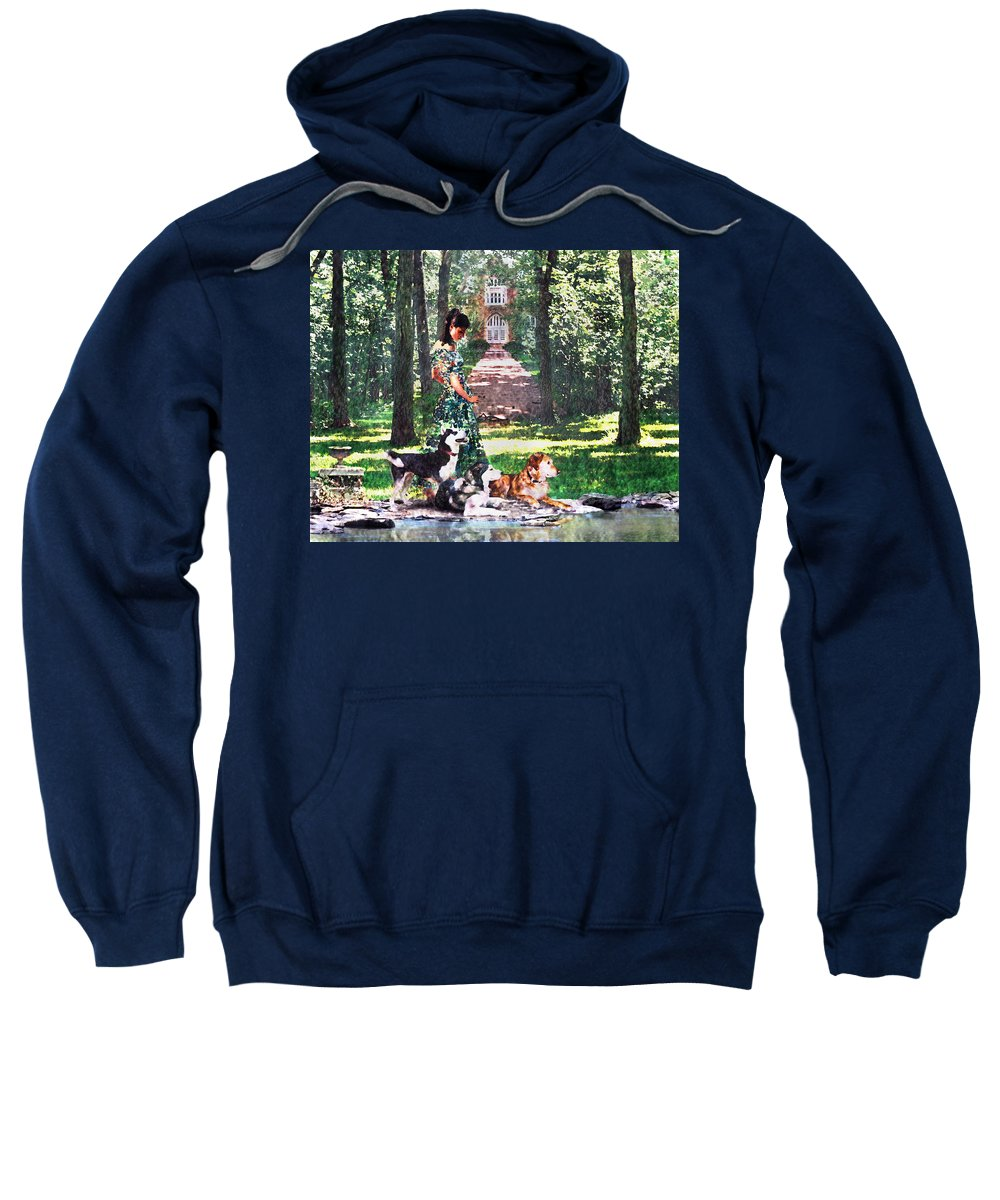 Landscape Sweatshirt featuring the photograph Dogs Lay At Her Feet by Steve Karol
