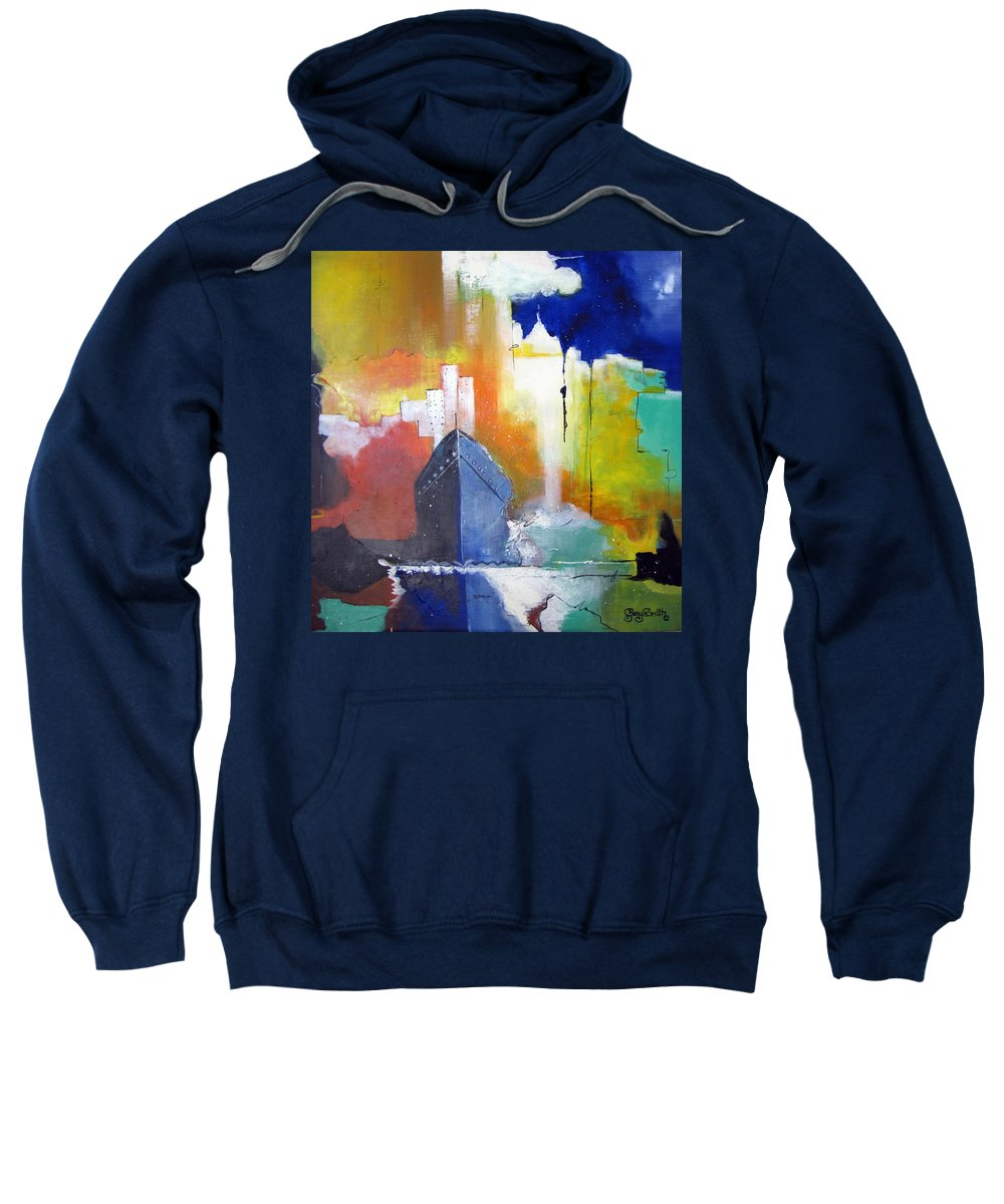 New York Sweatshirt featuring the painting Down The Hudson by Gary Smith
