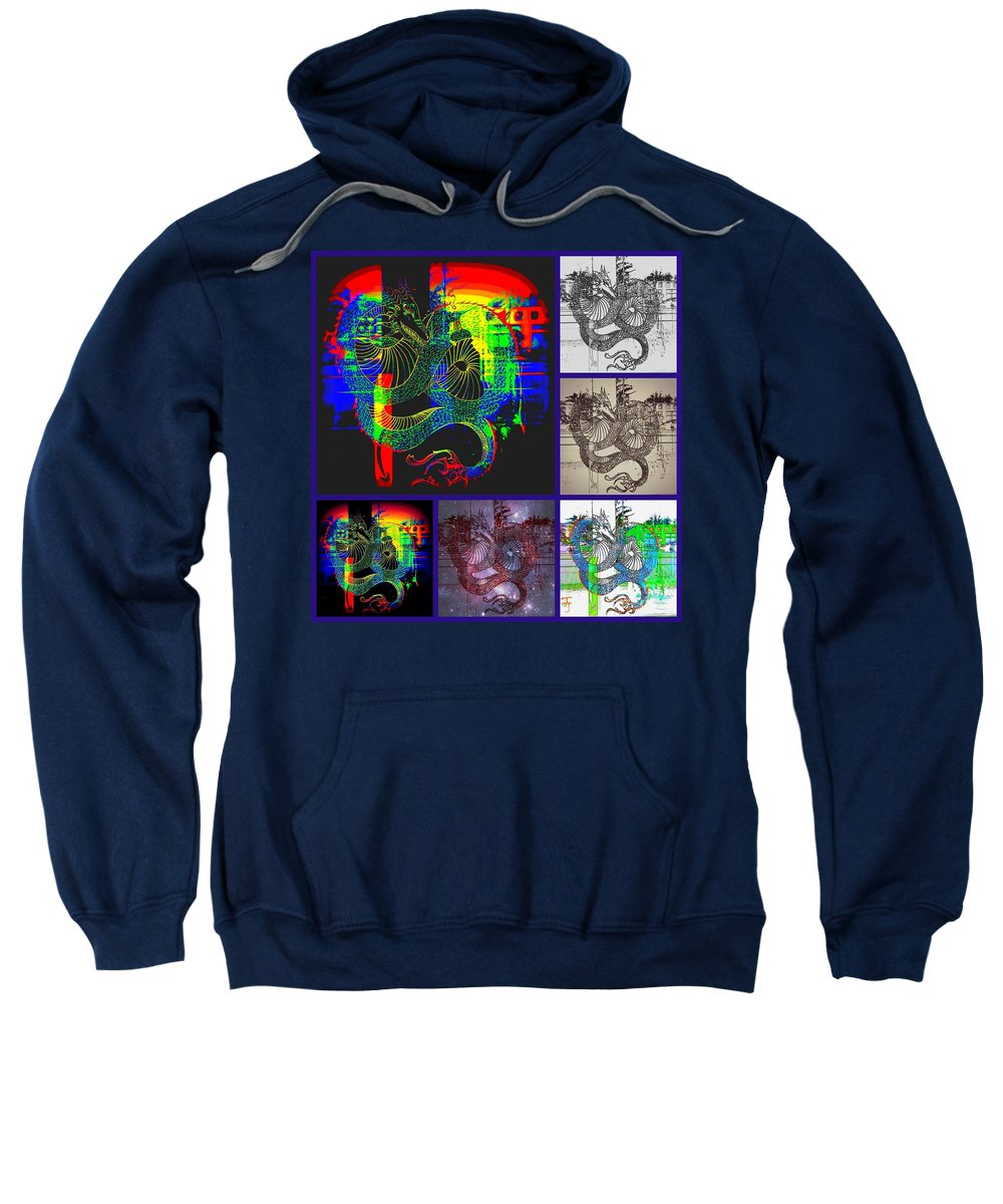 Sweatshirt featuring the photograph Dragon Collage by Kelly Awad