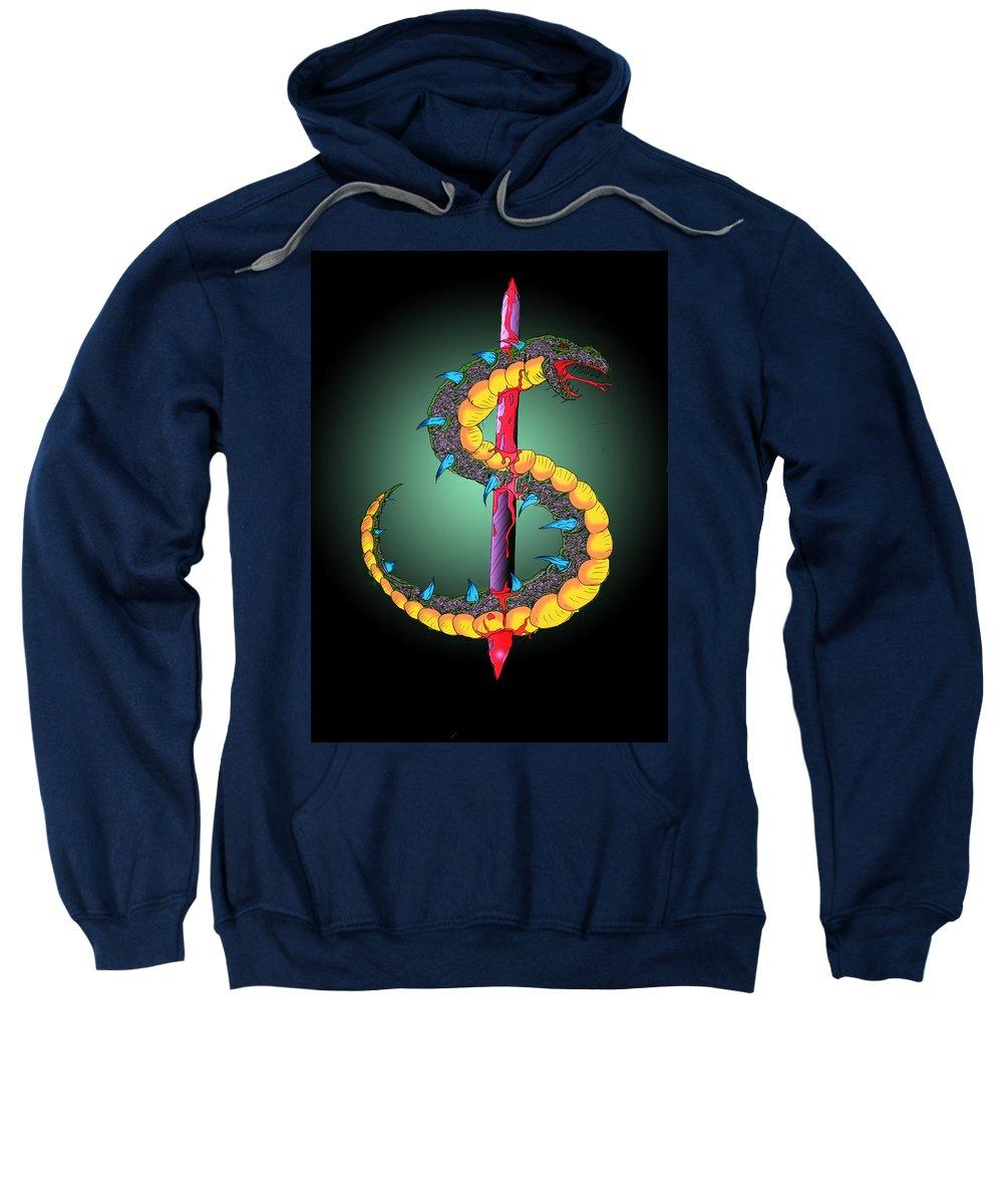 Sweatshirt featuring the digital art Dragon Spike One by Dan Sheldon