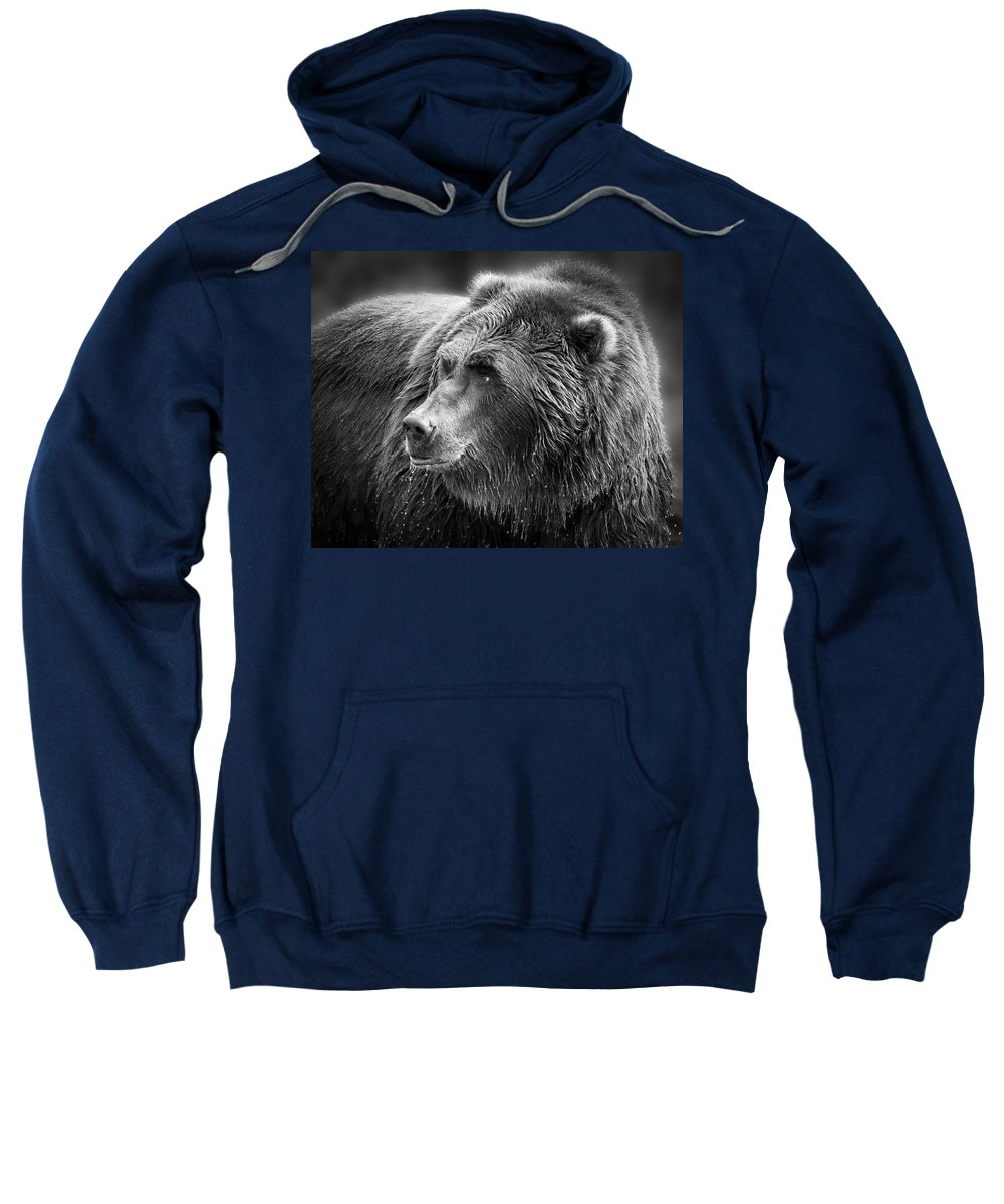 Griz Sweatshirt featuring the photograph Drinking Grizzly Bear Black And White by Steve McKinzie