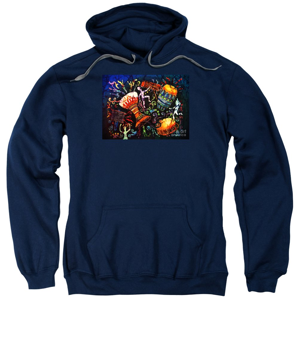 Drums Sweatshirt featuring the painting Drumbeat by Sue Duda