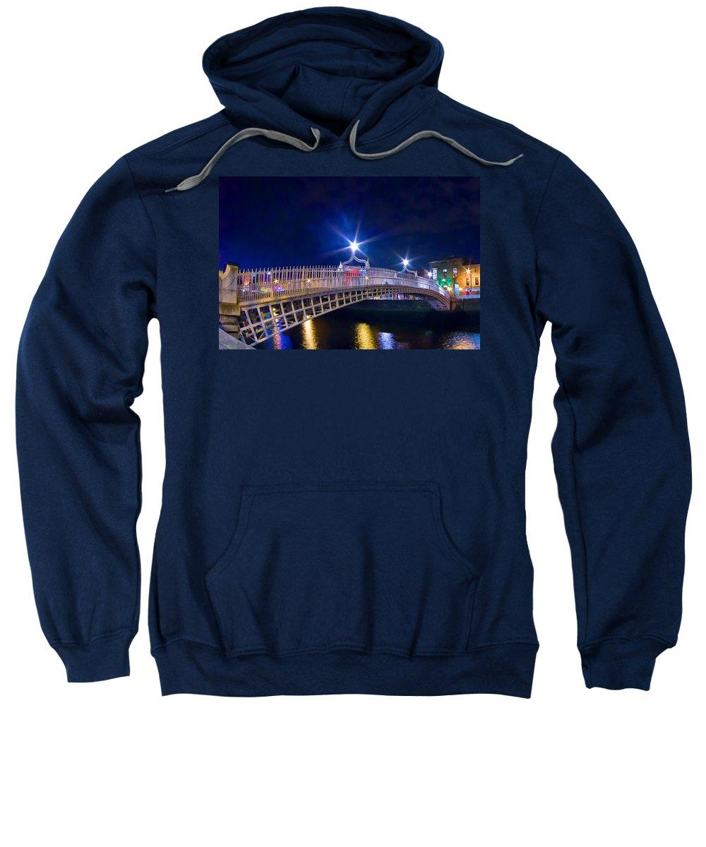 Ha'penny Bridge Sweatshirt featuring the painting Dublin - Ha'penny Bridge by Alex Art and Photo