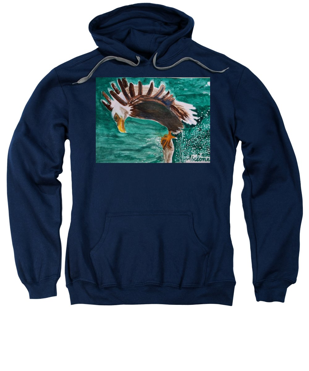 Postcards. Eagle. Fishing Sweatshirt featuring the painting Eagle Fishing by Abelone Petersen