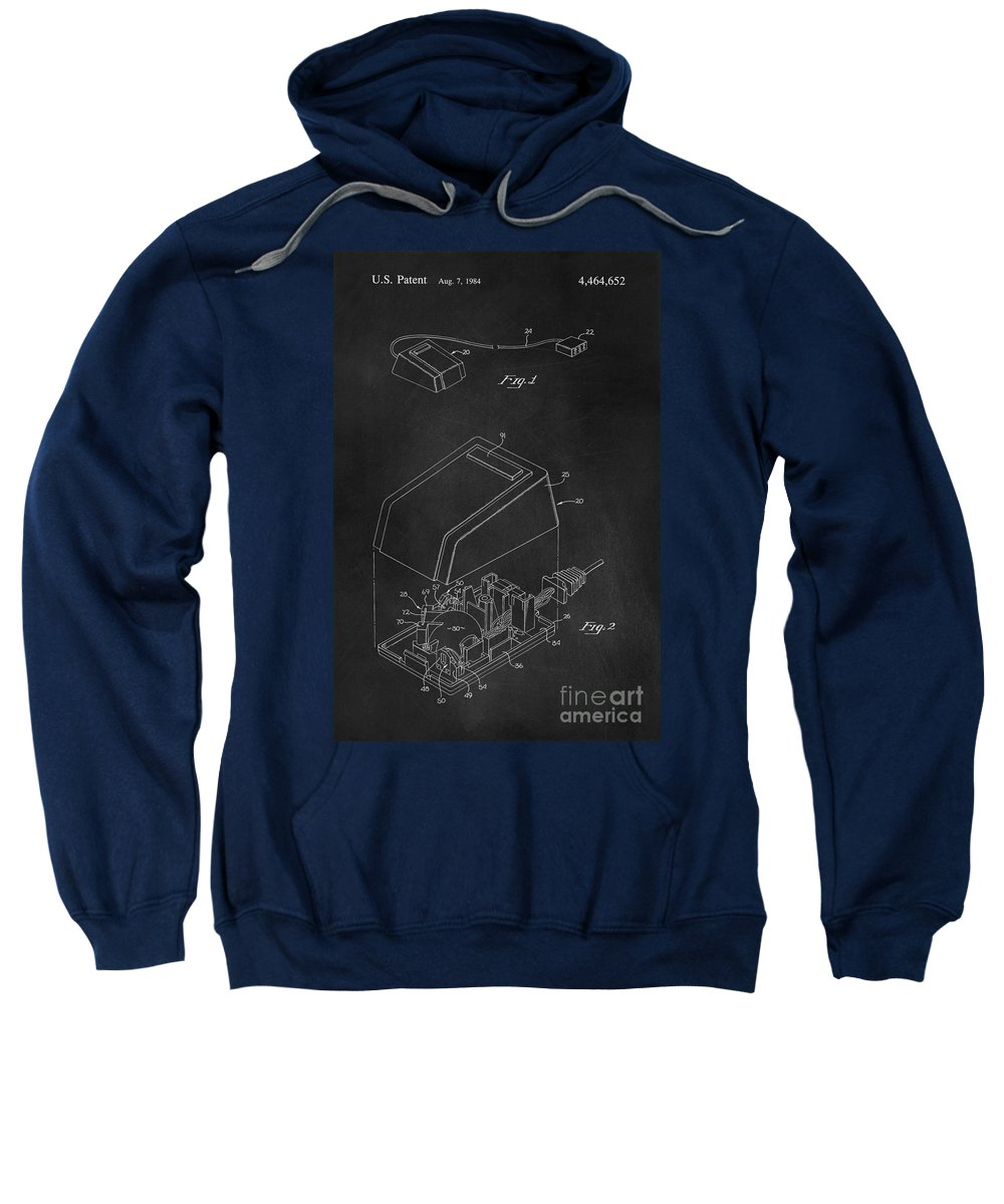 Apple Sweatshirt featuring the digital art Early Computer Mouse Patent 1984 by Edward Fielding