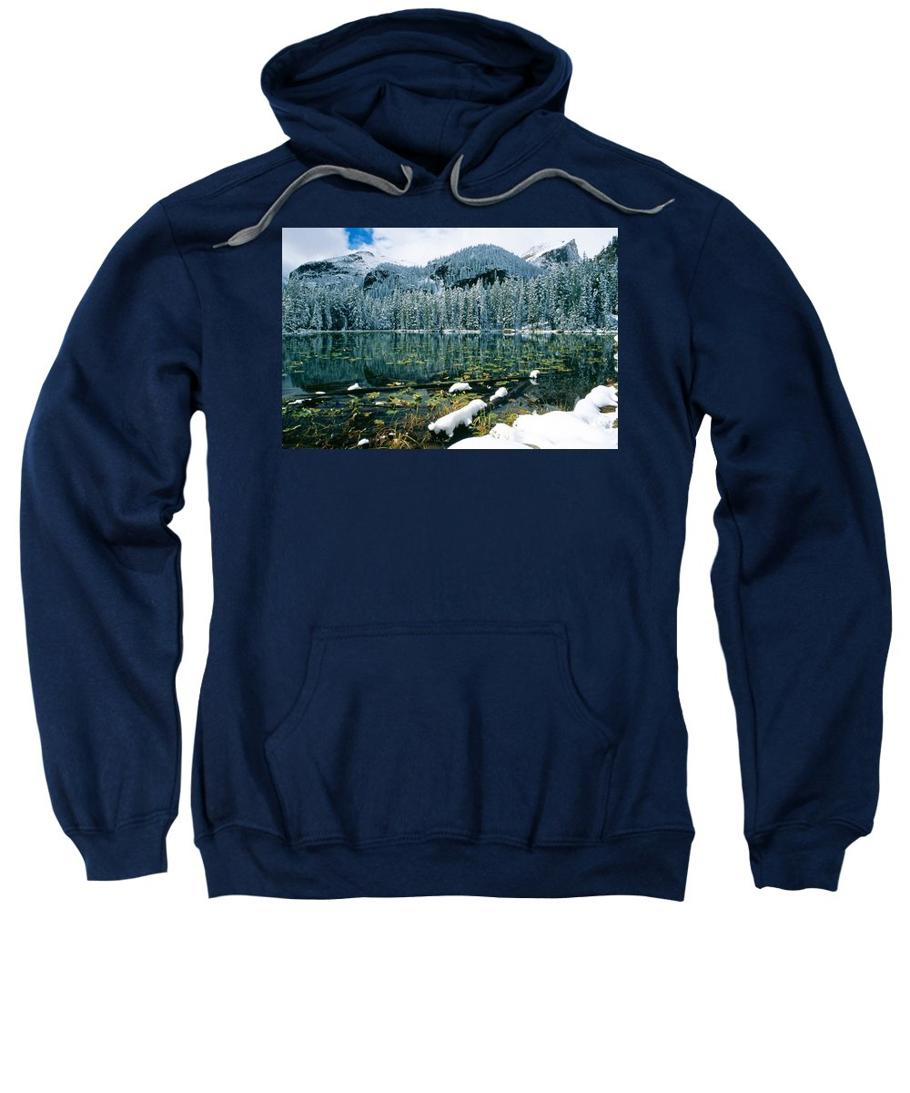 Colorado Sweatshirt featuring the photograph Early Snow At Nymph Lake by Eric Glaser