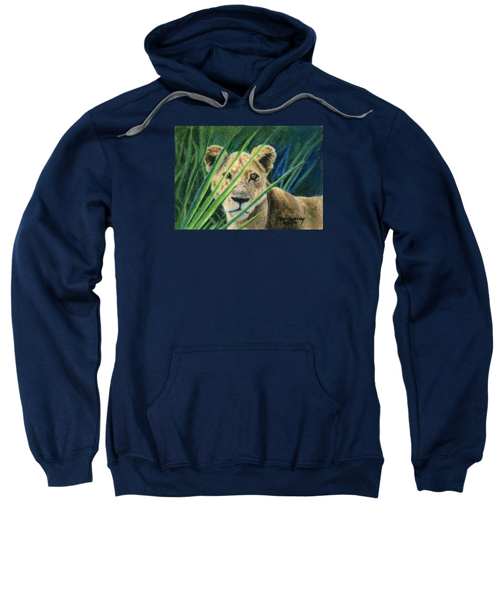 Lion Sweatshirt featuring the painting Elusive by Sherryl Lapping