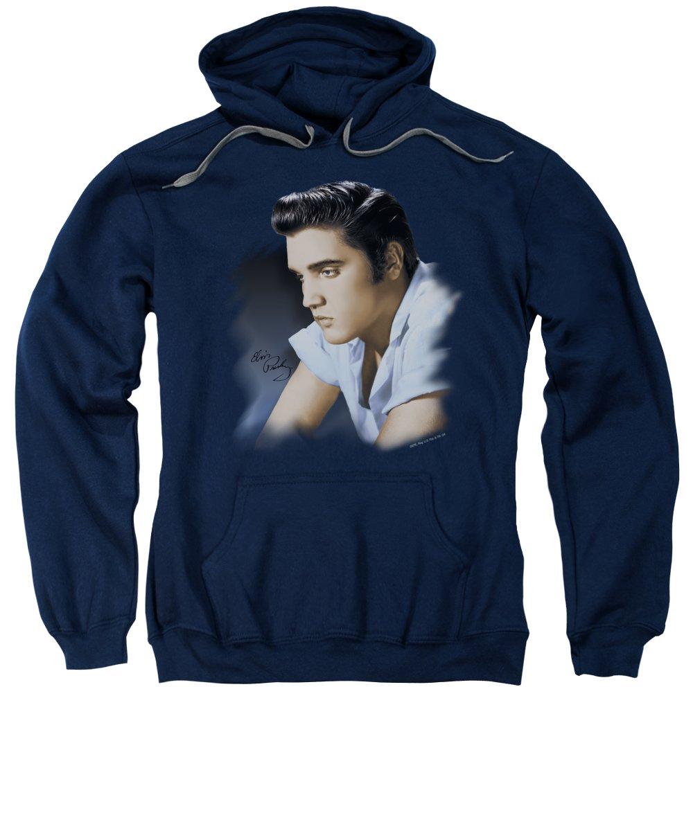Elvis Sweatshirt featuring the digital art Elvis - Blue Profile by Brand A