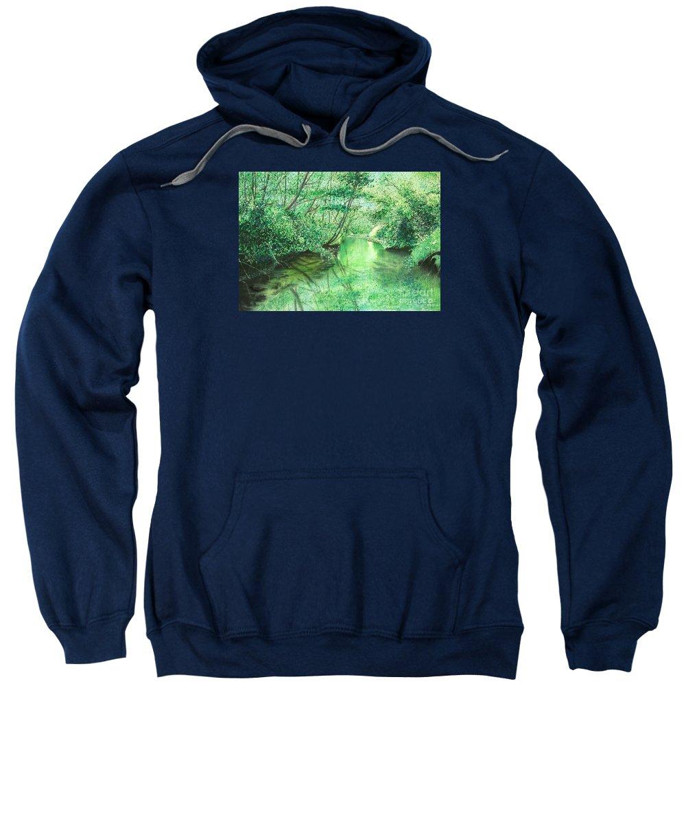 Landscape Sweatshirt featuring the painting Emerald Stream by Lynn Quinn