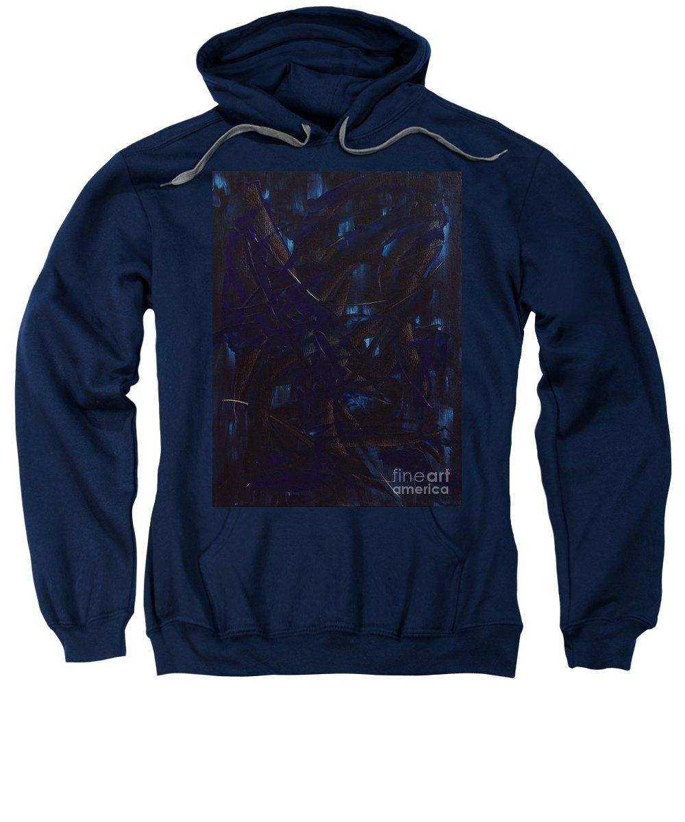 Dean Triolo Sweatshirt featuring the painting Expectations Blue by Dean Triolo