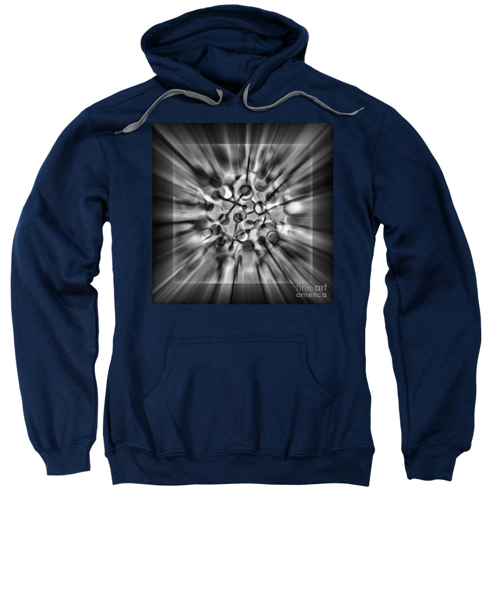 Digital Art Sweatshirt featuring the digital art Explosive Abstract Black And White By Kaye Menner by Kaye Menner