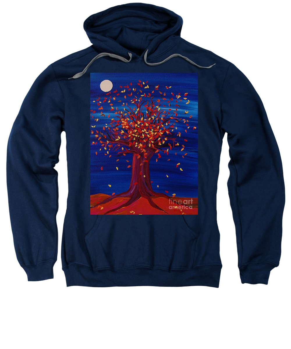 Tree Sweatshirt featuring the painting Fall Tree Fantasy By Jrr by First Star Art