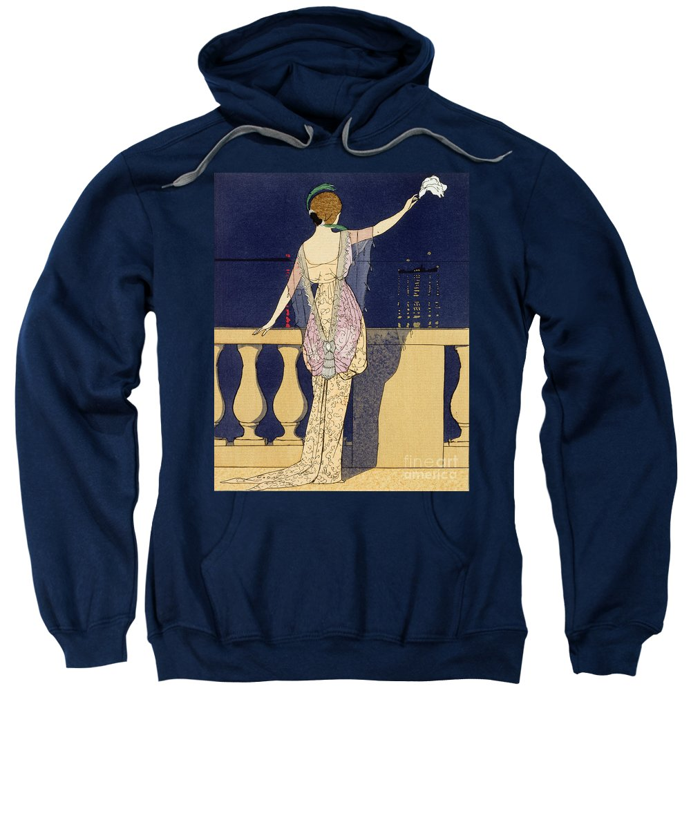 L'adieu Dans La Nuit Sweatshirt featuring the painting Farewell At Night by Georges Barbier