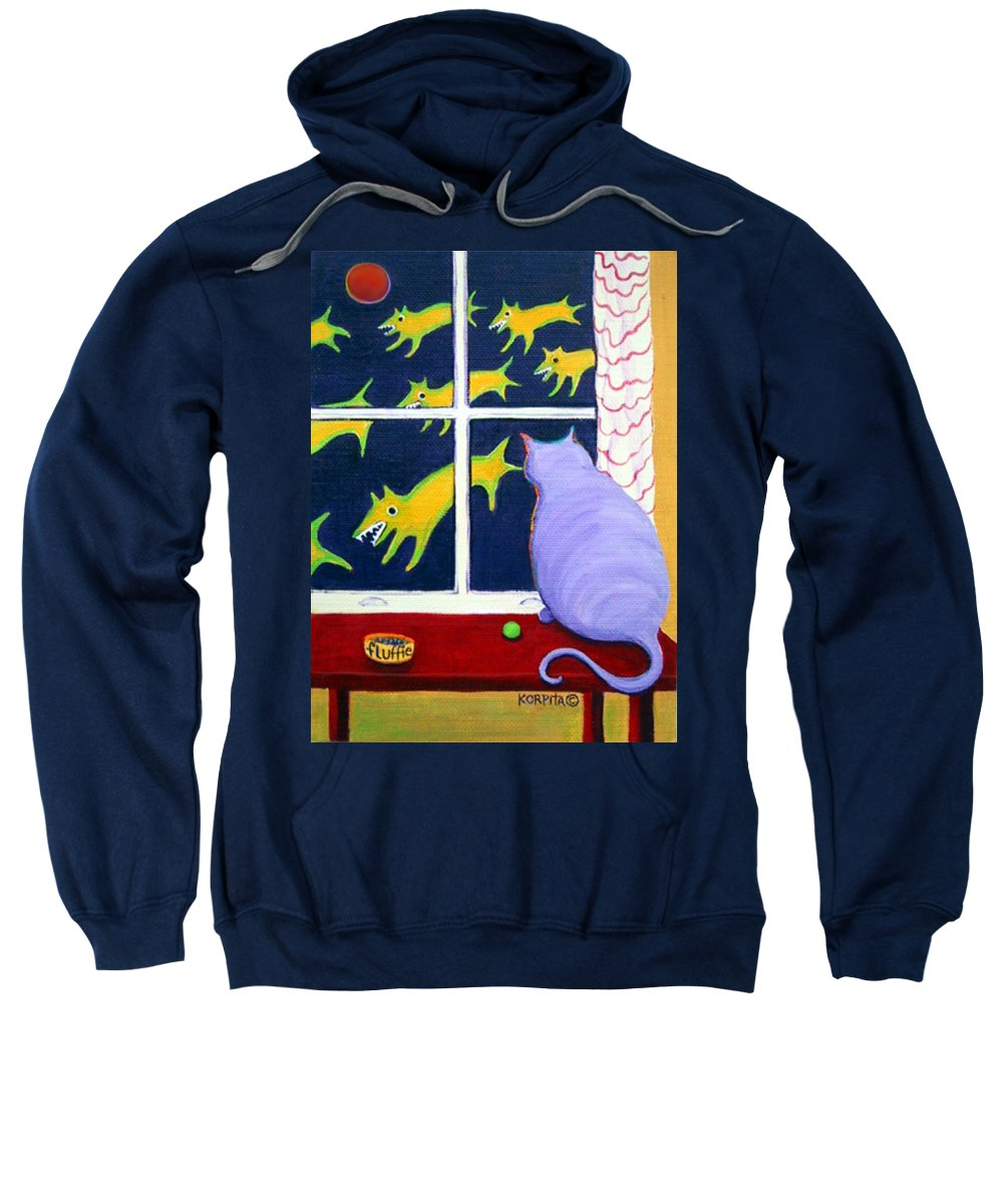 Rebecca Korpita Sweatshirt featuring the painting Fat Inside Cat - Why Fluffie Can Not Possibly Go Out by Rebecca Korpita