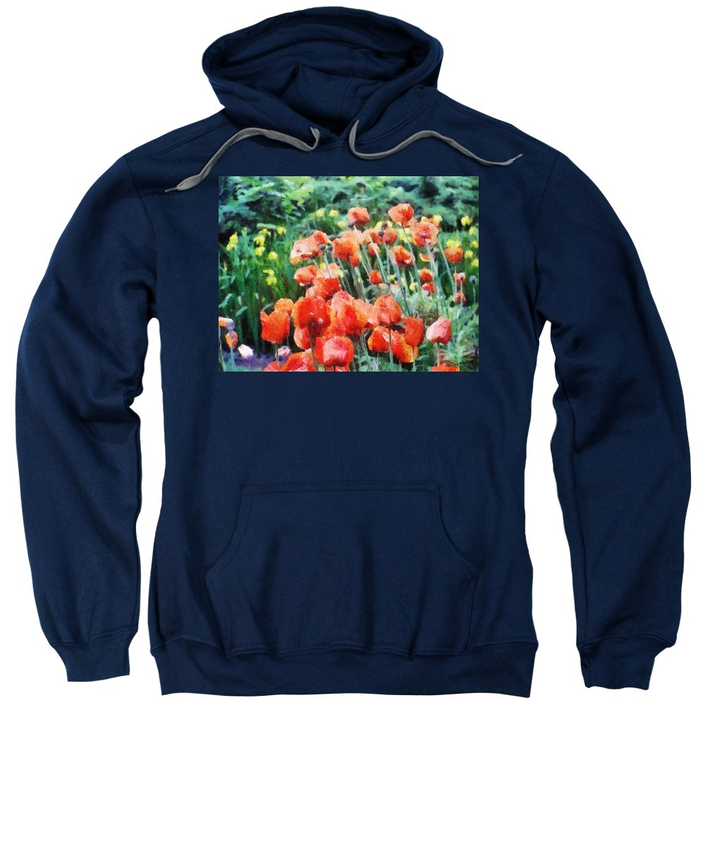 Canadian Sweatshirt featuring the painting Field Of Flowers by Jeffrey Kolker