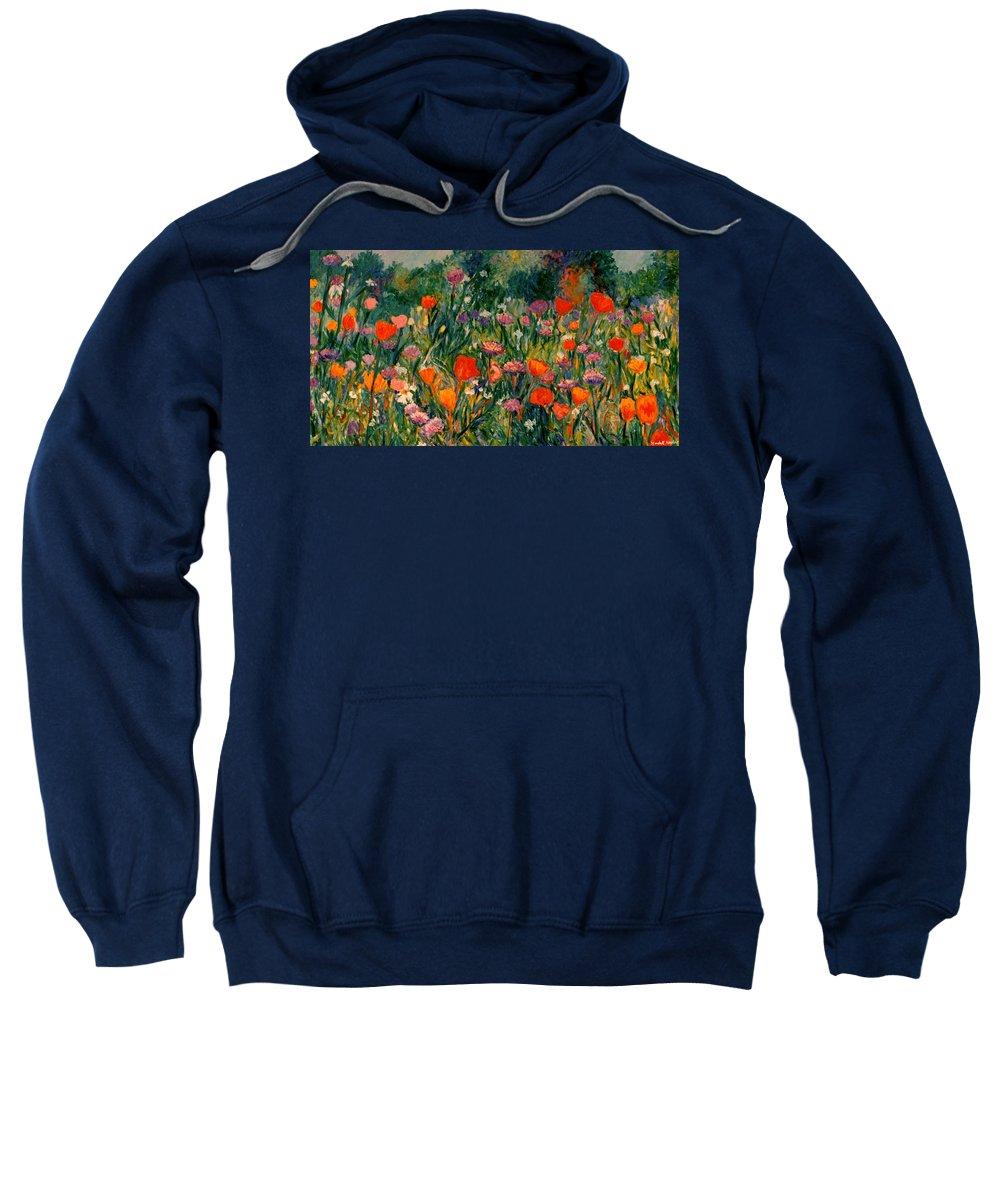Flowers Sweatshirt featuring the painting Field Of Flowers by Kendall Kessler