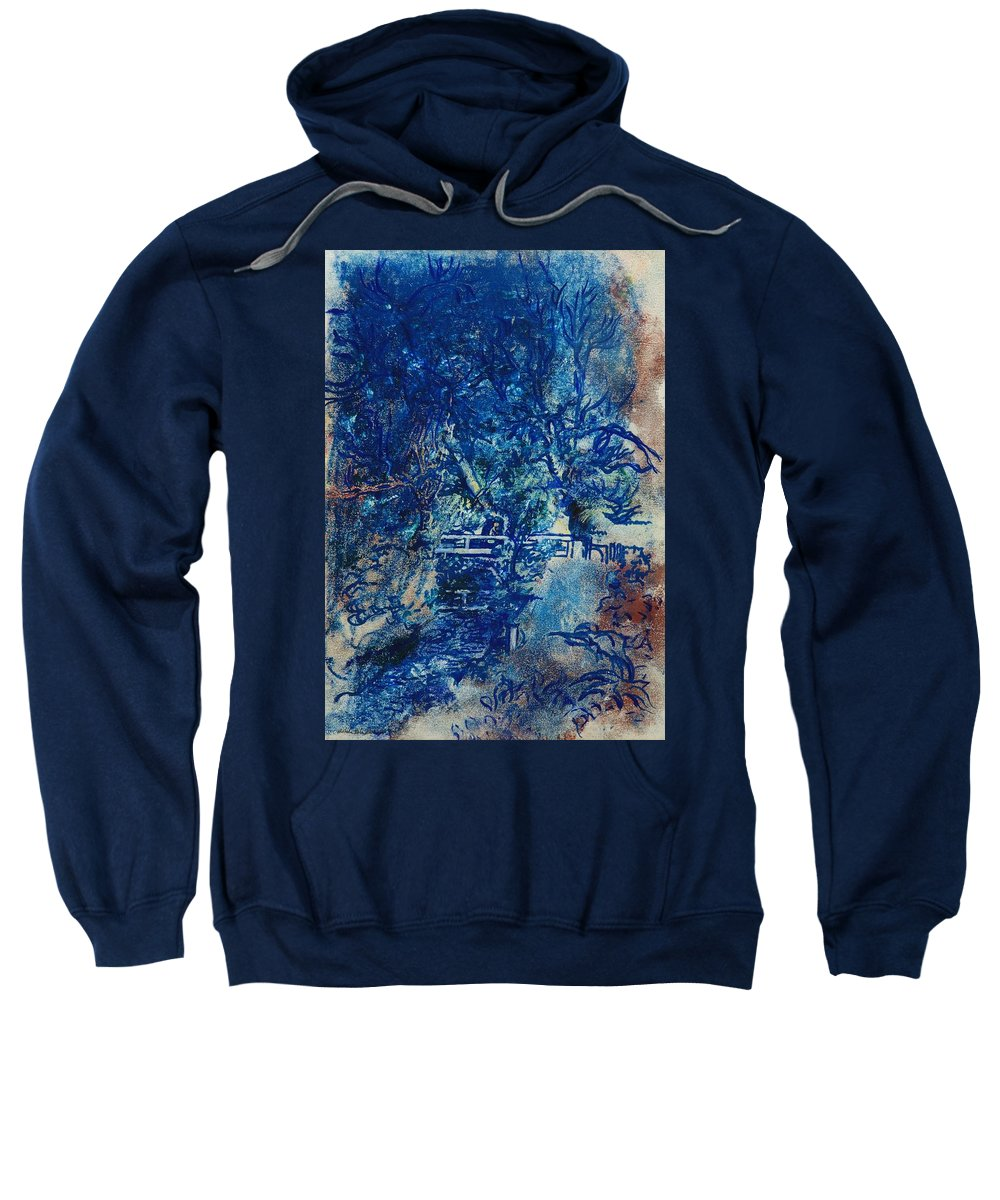 Blue Sweatshirt featuring the photograph Figures On A Bridge Oil On Canvas by Brenda Brin Booker