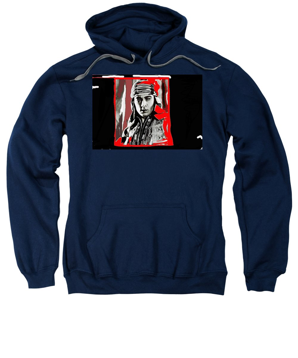 Film Homage Rudolph Valentino The Shiek 1921 Collage Color Added 2008 Sweatshirt featuring the photograph Film Homage Rudolph Valentino The Shiek 1921 Collage Color Added 2008 by David Lee Guss