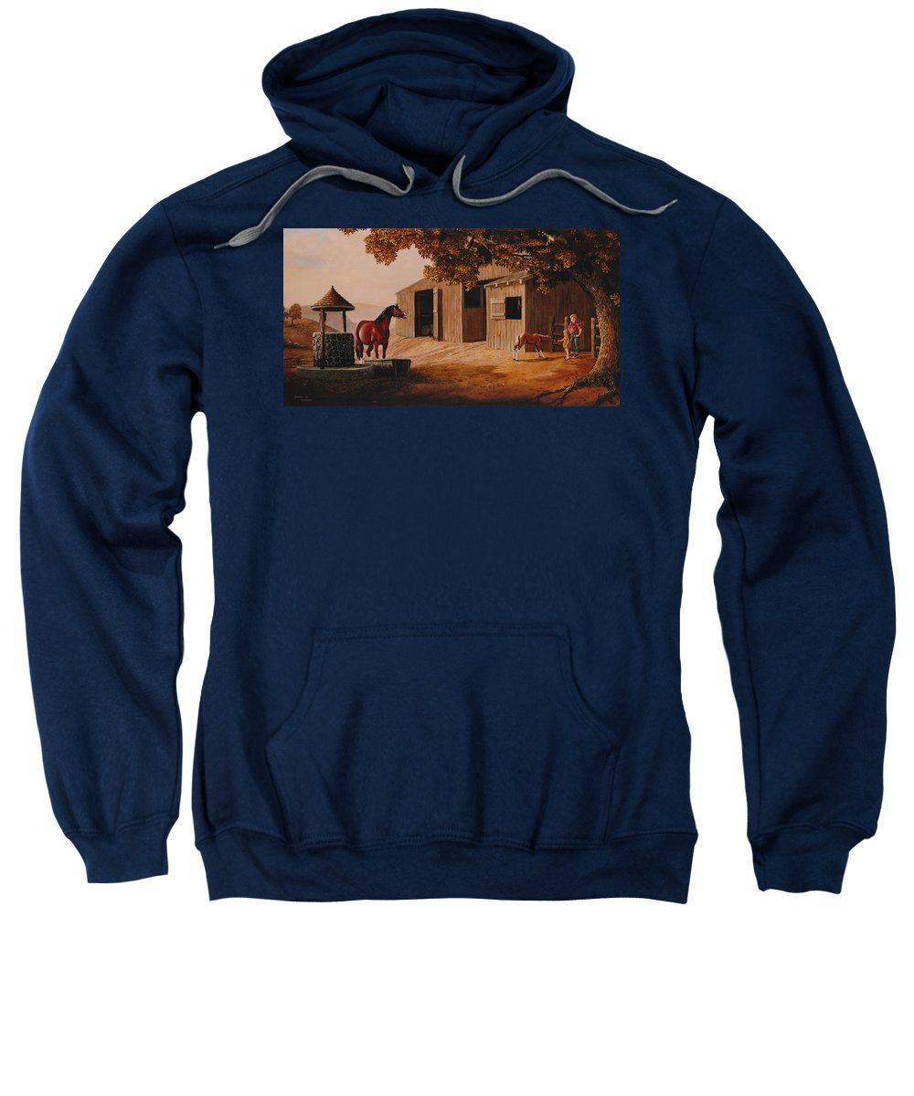 Farm Sweatshirt featuring the painting First Meeting by Duane R Probus