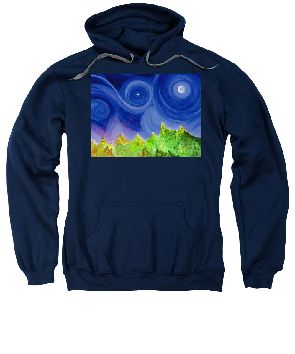 Trees Sweatshirt featuring the painting First Star By Jrr by First Star Art