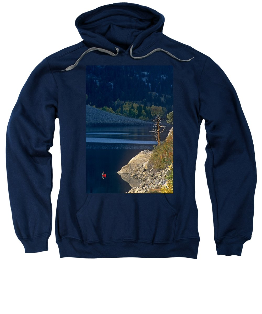 North America Sweatshirt featuring the photograph Fisherman On Lundy Lake Eastern Sierras California by Dave Welling