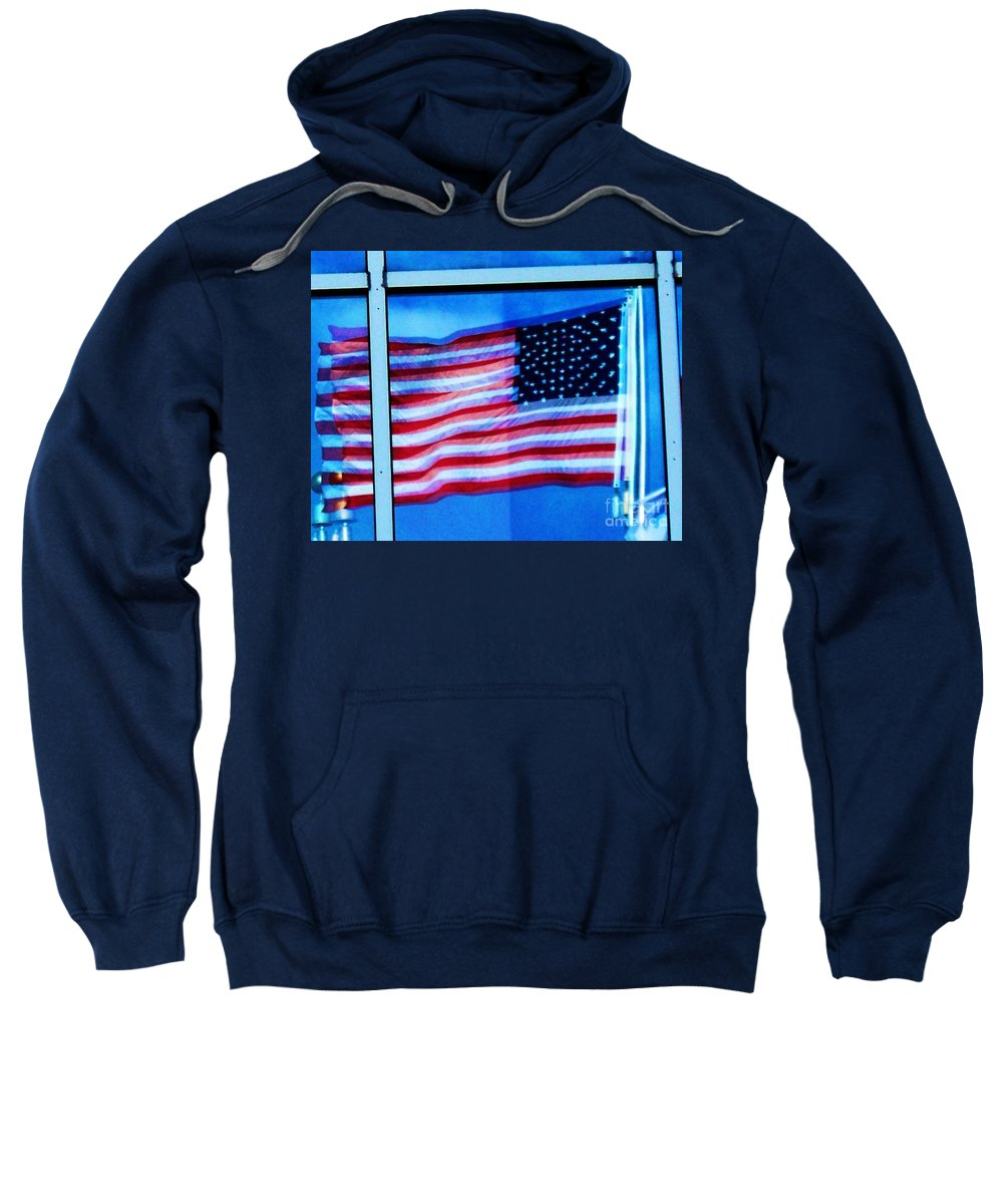 Flag Sweatshirt featuring the photograph Flag Abstract Reflection by Eric Schiabor
