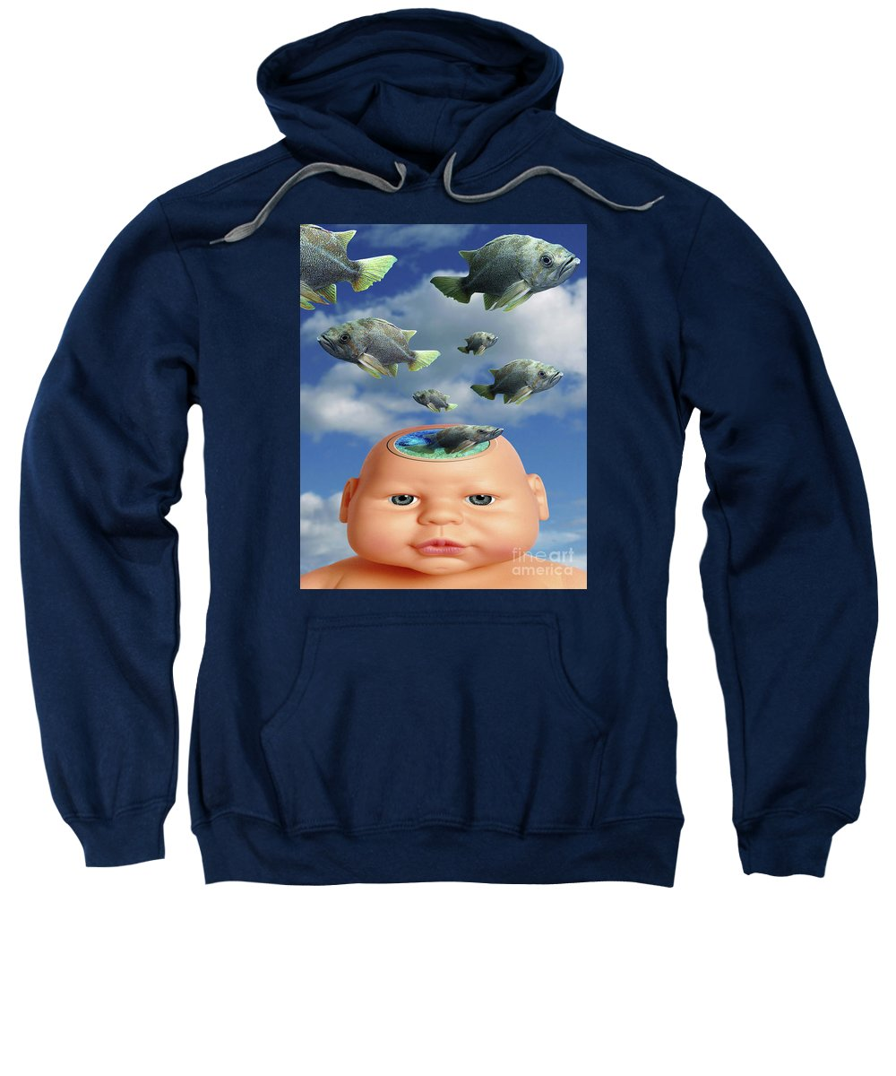 Baby Sweatshirt featuring the digital art Flying Head Fish by Keith Dillon