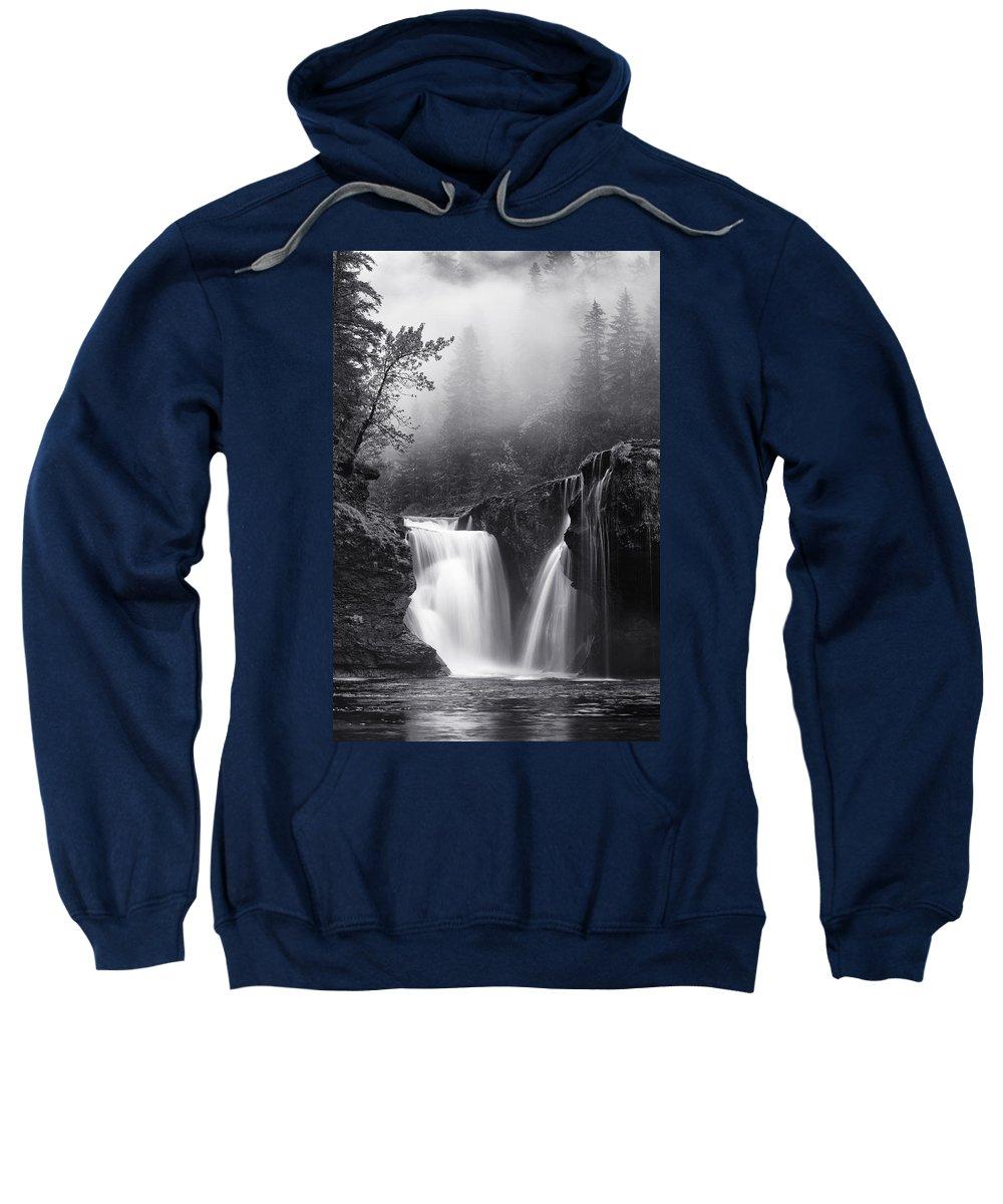 Monochrome Sweatshirt featuring the photograph Foggy Falls by Darren White