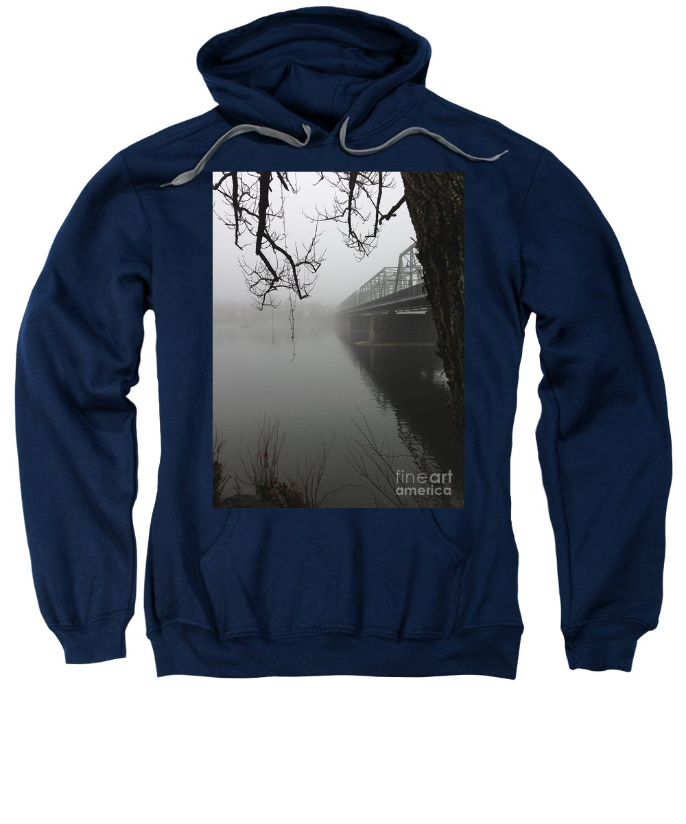 Boats Sweatshirt featuring the photograph Foggy Morning In Paradise - The Bridge by Christopher Plummer