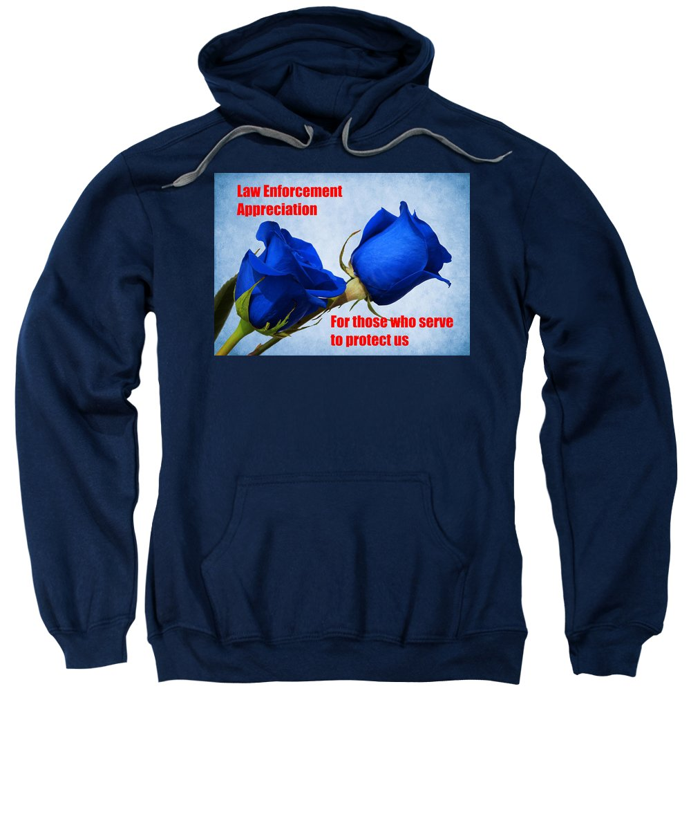 Police Sweatshirt featuring the photograph For Those Who Serve by Judy Vincent