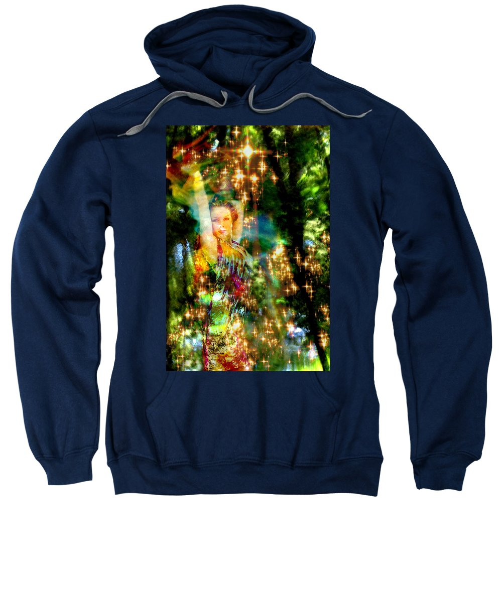 Forest Sweatshirt featuring the digital art Forest Goddess 4 by Lisa Yount