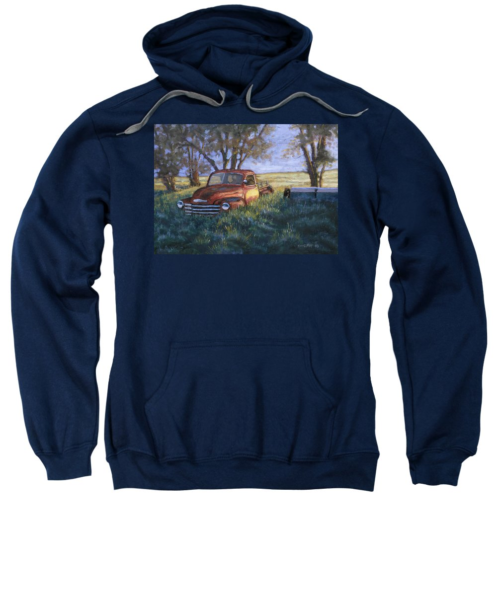 Pickup Truck Sweatshirt featuring the painting Forgotten But Still Good by Jerry McElroy