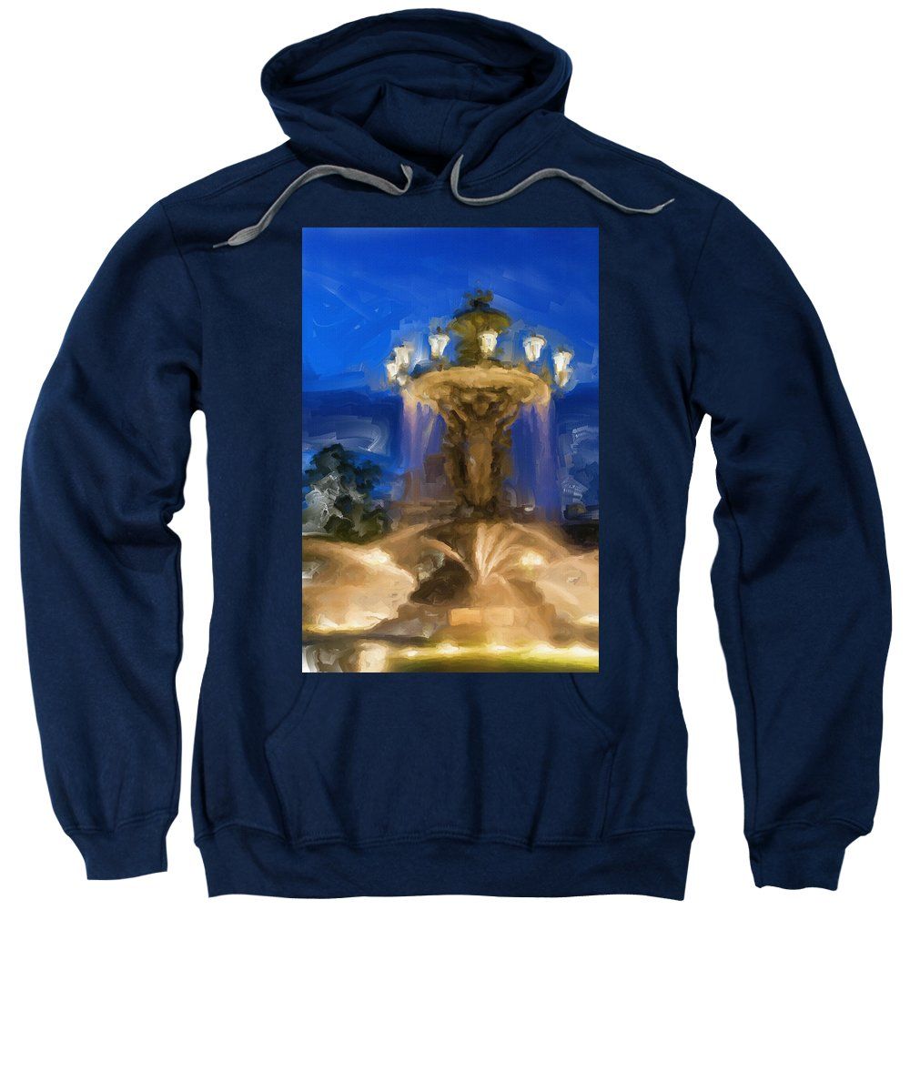 Fountain Sweatshirt featuring the painting Fountain At Dusk by Inspirowl Design