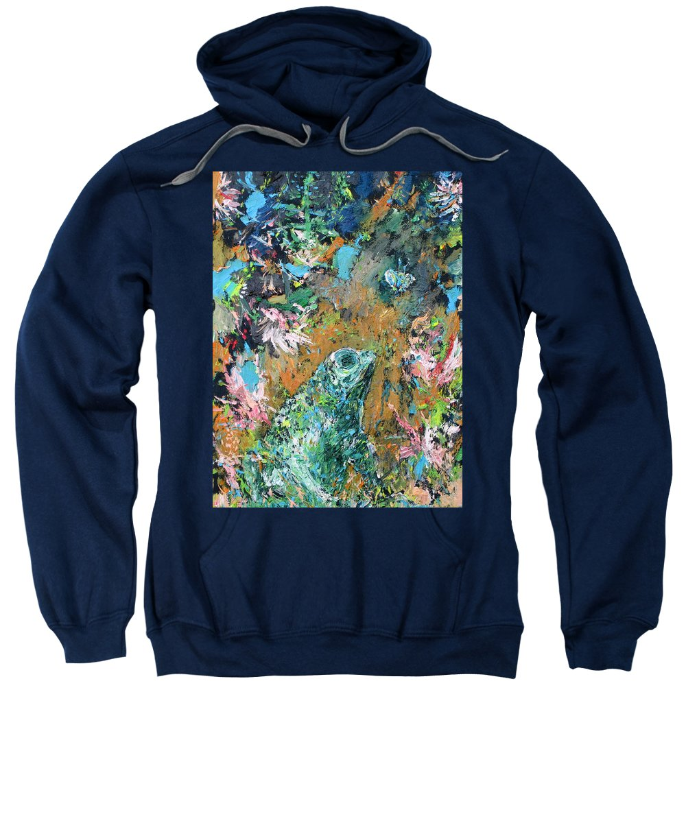 Frog Sweatshirt featuring the painting Frog And Fly by Fabrizio Cassetta