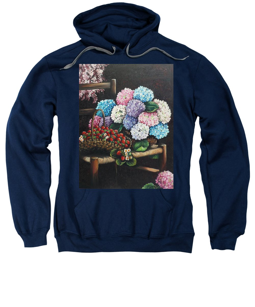 Hydrangea Paintings Floral Paintings Botanical Paintings Flower Paintings Blooms Hydrangeas Strawberries Paintings Red Paintings Basket Paintings Pink Paintings Garden Paintings  Blue Paintings  Greeting Card Paintings Canvas Paintings Poster Print Paintings  Sweatshirt featuring the painting From My Garden by Karin Dawn Kelshall- Best