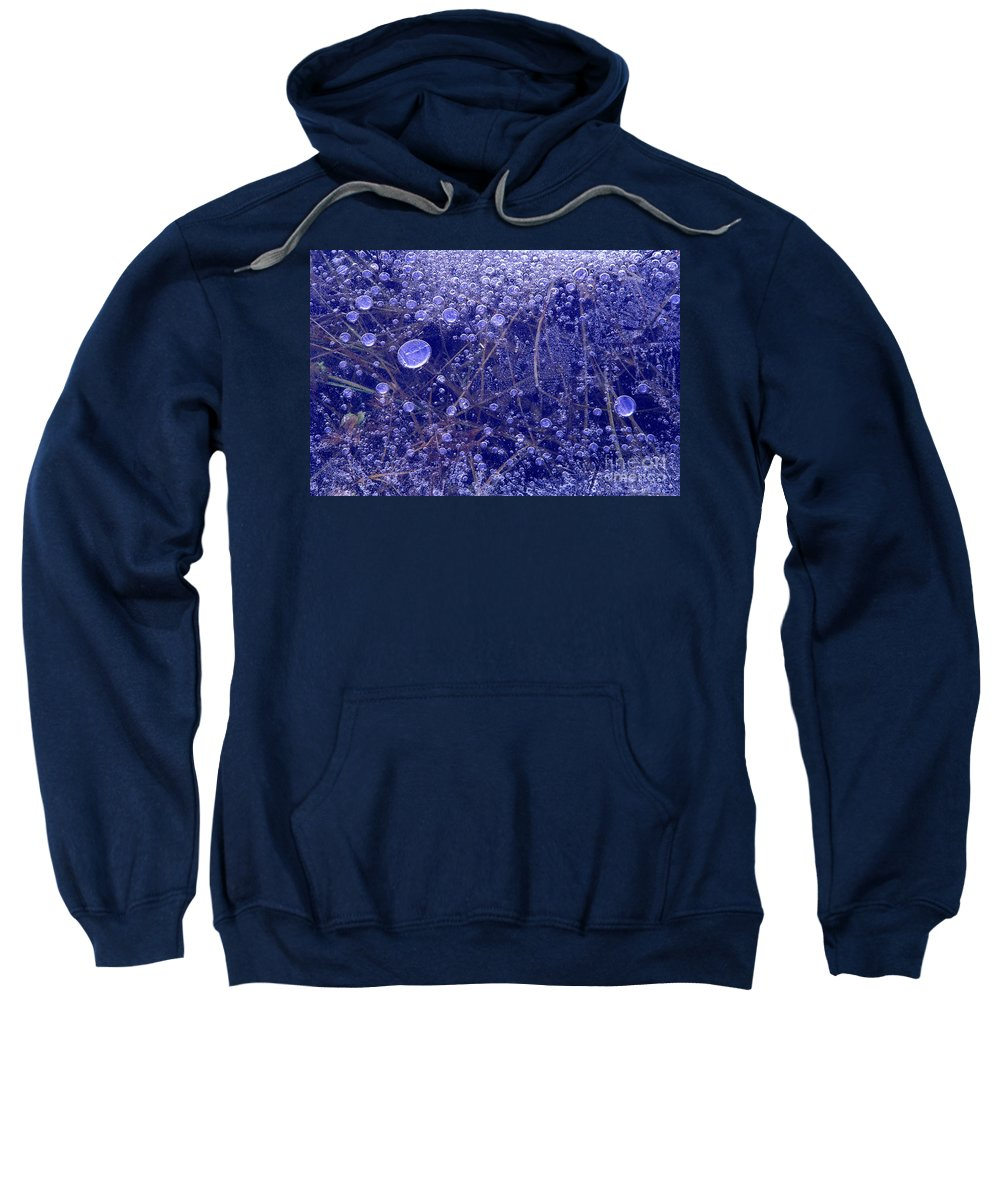 North America Sweatshirt featuring the photograph Frozen Bubbles In The Merced River Yellowstone Natioinal Park by Dave Welling