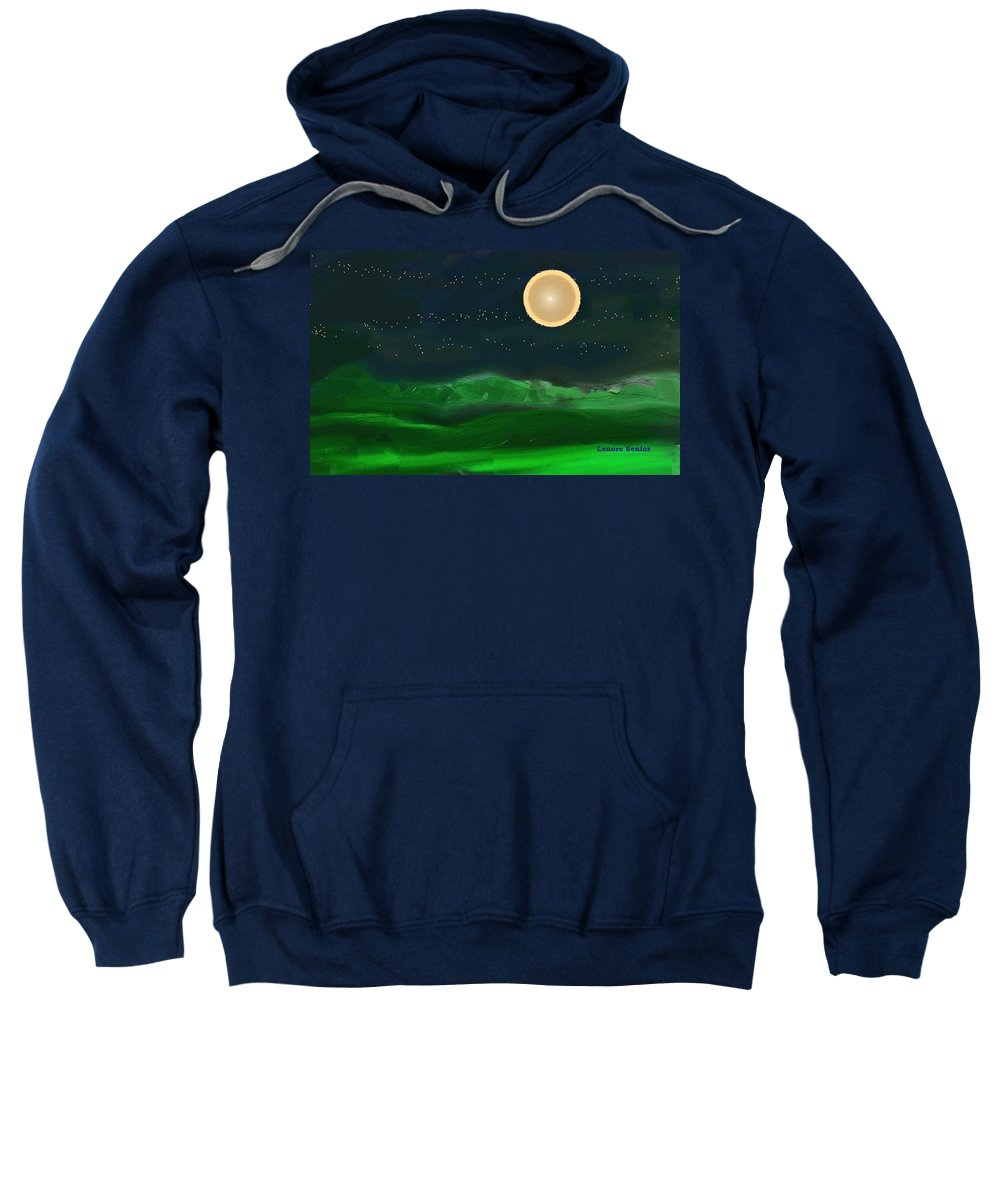 Abstract Sweatshirt featuring the mixed media Full Moon by Lenore Senior