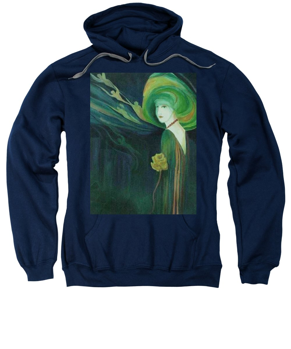 Women Sweatshirt featuring the painting My Haunted Past by Carolyn LeGrand